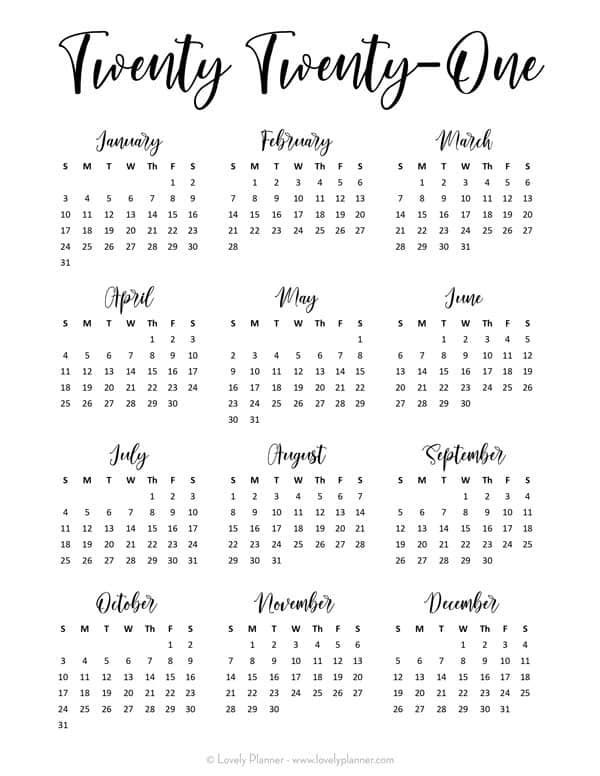 24 Pretty Free Printable One Page Calendars For 2021 Lovely Planner Calendar Printables Printable Calendar Template Monthly Calendar Printable