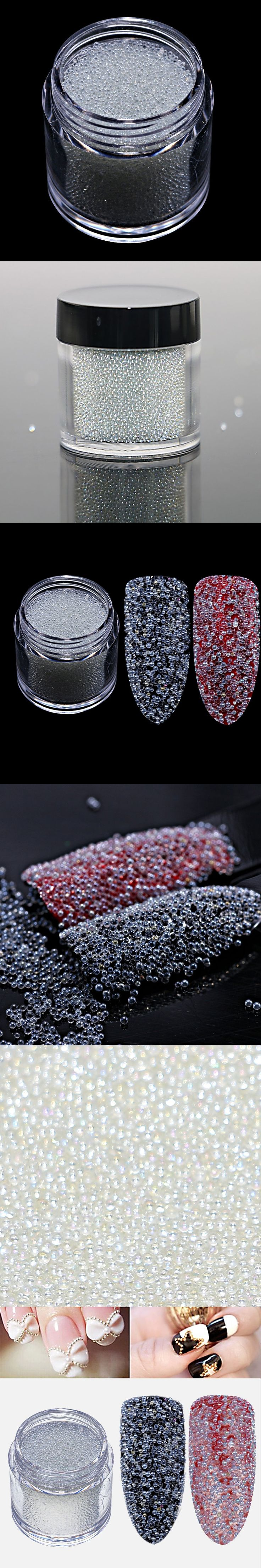 F Nail Studs Powder 0.6-0.8mm 15g/jar Clear AB Caviar Mini Glitter Beads Manicures Nail Art Glitter Decoration DIY Nail Art