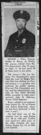 An article about the retirement of Walter R. Brown of Engine Company No. 30 :: Dunbar Economic Development Corporation Collection, 1880-1986 #BlackMuseums