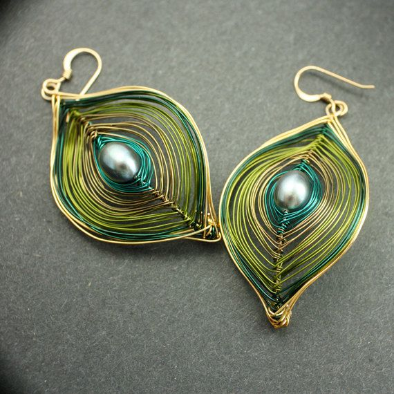 Olive Green and Gold Peacock Earrings Ships Free by Woojoo on Etsy, $30.00