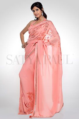 Peach floral saree | Satya Paul