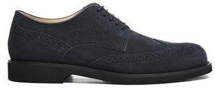 Tod's Men's Blue Suede Lace-up Shoes.