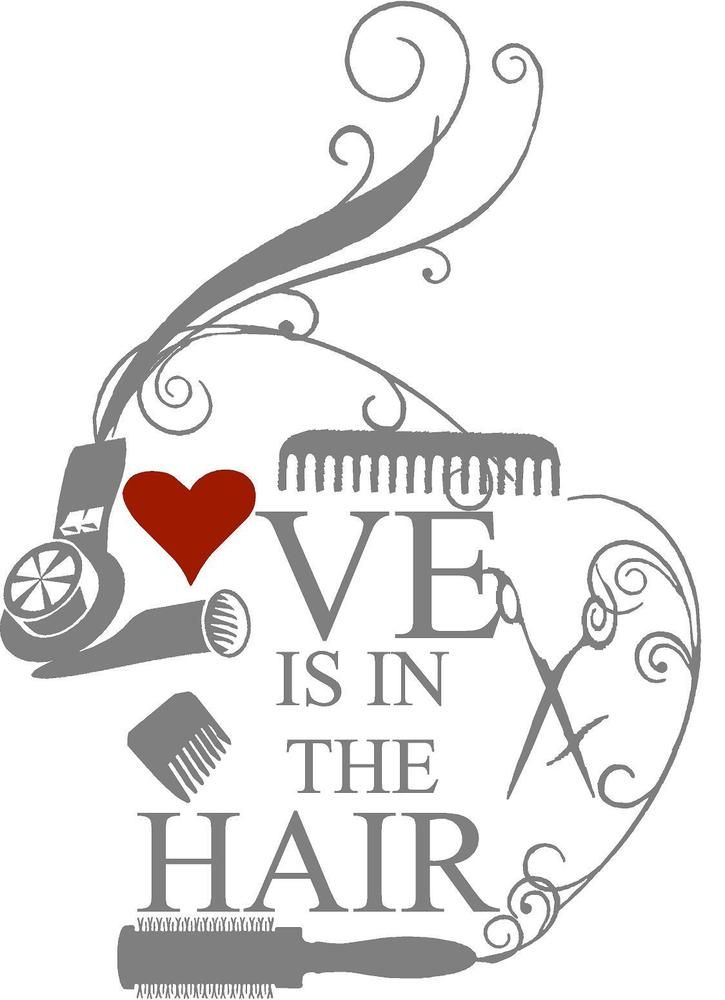 Love is in the Hair decal Hairstylist Beautician Cosmetologist Salon decor wall in Home & Garden, Home Décor, Decals, Stickers & Vinyl Art | eBay
