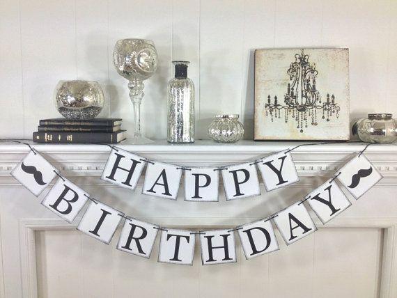 Happy Birthday Banner- Mustache Banner - Happy Birthday Decroations