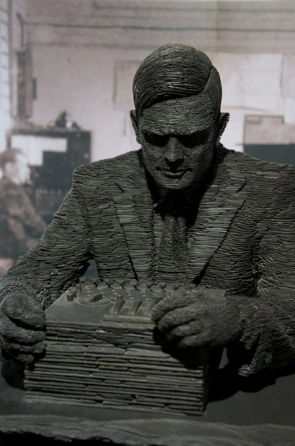 UK sculptor Stephen Kettle works primarily with thin pieces of stone slate, using the material to build figures, busts, animals, and other objects. His most famous piece is a sculpture of Alan Turing. The piece took 18 months to build and weighs 3,000 pounds (1.5 tons).