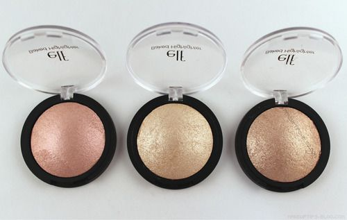 ELF Studio Baked Highlighters from left to right: Pink Diamonds, Moonlight Pearls, Blush Gems...interesting to see if they're similar to Hourglass