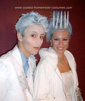 Homemade Jack Frost and Ice Princess Unique Couple Costume Ideas: Jack frost is a recycled 70's white John Travolta costume with homemade added touches. I used craft foam and cut icicles which hung on shoulders, pocket,