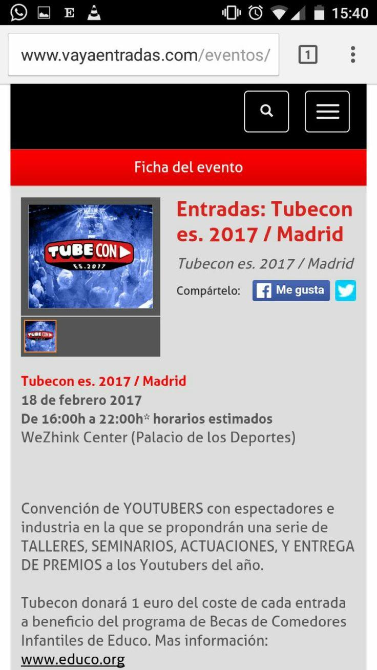 Tubecon en Madrid, una convención de Youtubers donará 1€ del coste de cada entrada a beneficio del programa de becas de comedores infantiles de Educo. La noticia salió en diversos medios de comunicación como TVE.