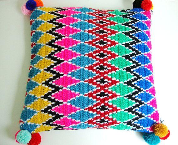 modern pillow cover crochet Ethnic pattern от wildstar80 на Etsy