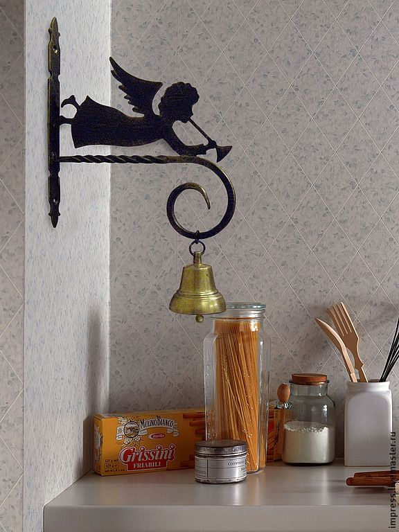 Купить кронштейн для кашпо и колокольчика Мой ангел - чёрно-белый, металл, Ковка, декор интерьера