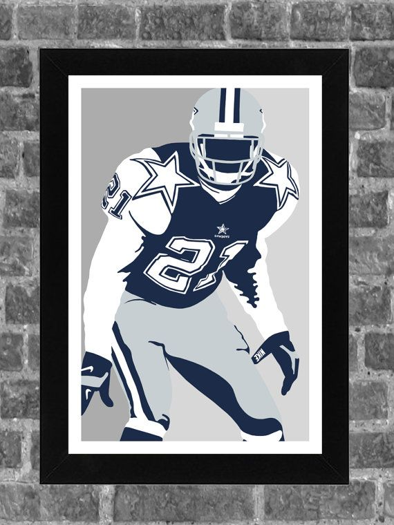 Dallas Cowboys Deion Sanders Portrait Sports Print Art 11x17