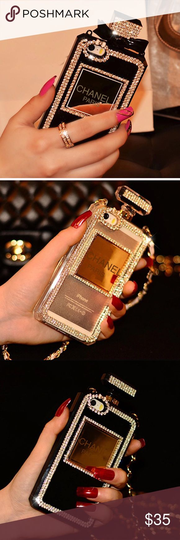 iPhone 6 and 7 Rhinestone Phone Case Brand new Chanel Paris Rhinestone perfume bottle iPhone 6 and 7 phone case. Choose from white or black. Detachable chain. No bow attached at top. Fits both iPhone 6 and 7. Price Firm. RIIBS Accessories Phone Cases #iphone6cases,