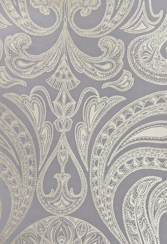 Powder Room  Malabar Wallpaper Dark Lilac Grey wallpaper with large metallic silver Paisley design in white.