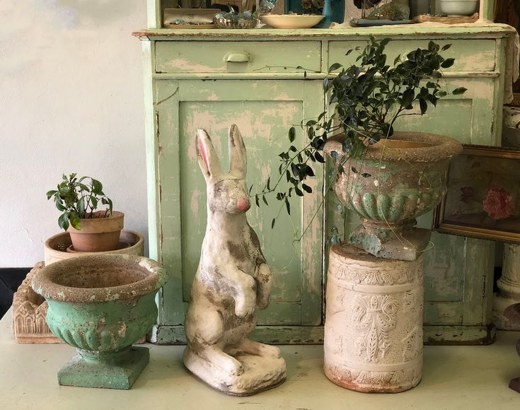 Old Concrete Easter Bunny, Pair Of Planters Cute! Bunny $175 Pair Of