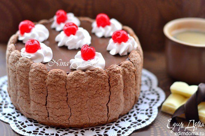 Шоколадный тирамису с вишневым ликером. Не приторный, ароматный и очень эффектный десерт. #edimdoma #recipe #cookery #cake