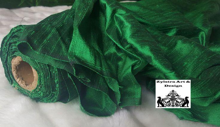 EMERALD GREEN SILK curtain, dupioni silk, window dressing, draping, home decor, interior decor, juniper, green, emerald, shamrock