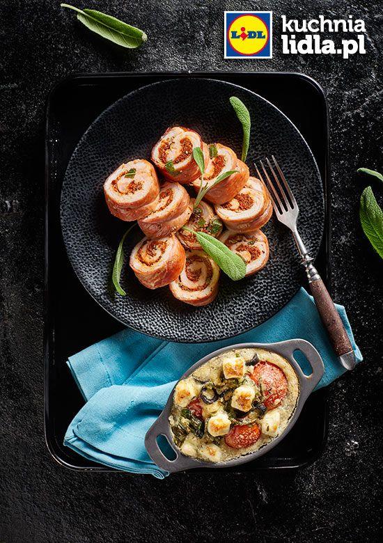 Schab faszerowany pesto z suszonych pomidorów z clafoutis z pomidorkami, oliwkami i fetą. Kuchnia Lidla - Lidl Polska #lidl #pascal #schab #pesto