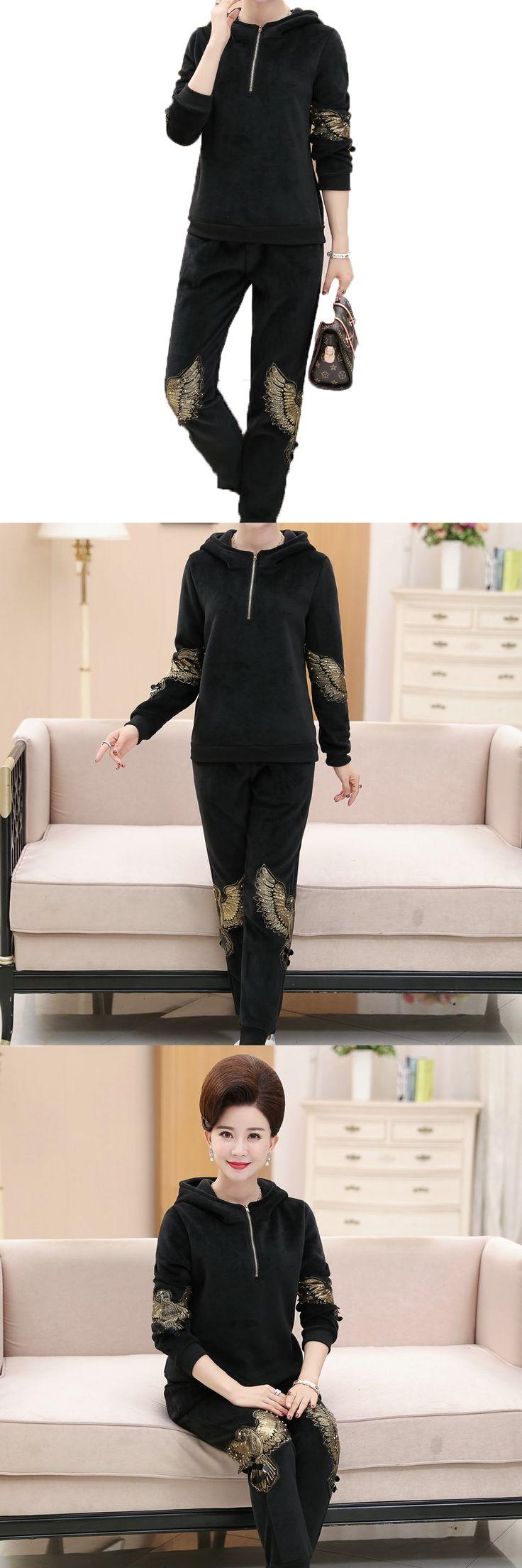 WAEOLSA Fashion Woman Velvet Tracksuit Set Black Sequined Ensemble Femme Hoodie And Trouser Set Womens 2 Piecs Pant Set Thicken