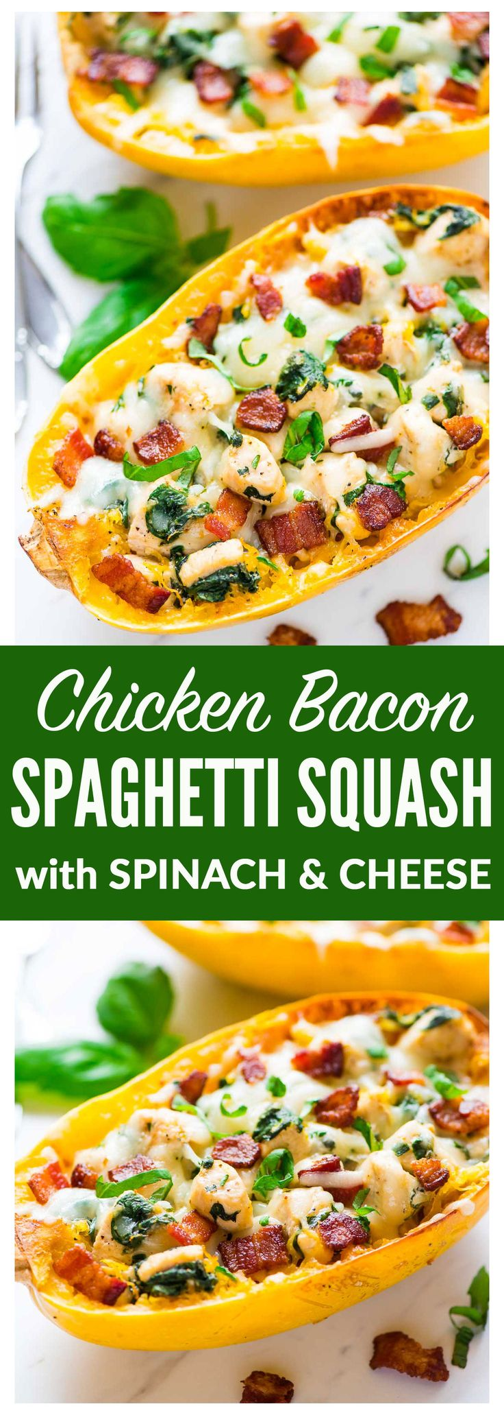 Spaghetti Squash Boats with Chicken, Bacon, Spinach, and Cheese. A healthy, low carb meal that tastes like chicken alfredo! Easy, gluten free, and absolutely delicious. Recipe at wellplated.com | @wellplated