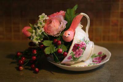 Moms Eat Cold Food: Teacup Bird Feeder or Floral Arrangement