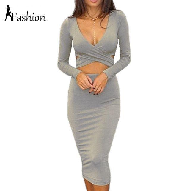 Long Sleeve Elastic Cotton Elegant Party Dresses Sexy Midi Pencil Club Bandage Bodycon Dress