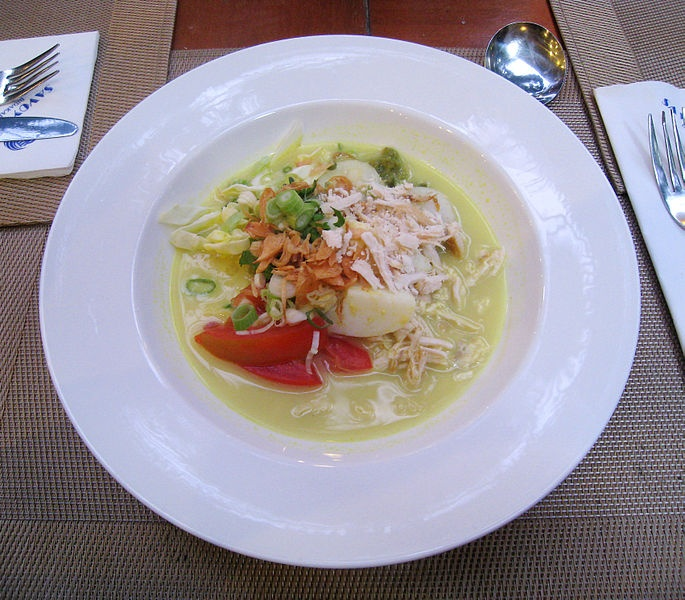 Soto Ayam (chicken soto) a breakfast dish in Savoy Homann Hotel, Bandung…