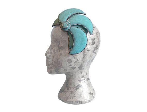 Aqua blue & Silver Fascinator - Zip and Felt
