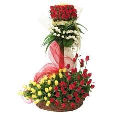 A standing arrangement of 75 mixed roses for any of special birthday and anniversary occasion.