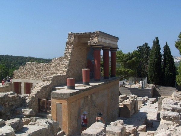 Crete - Knossos. This is one site on Crete that you must not miss! Considered as Europe's oldest city, The palace of Knossos was the ceremonial and political centre of the Minoan civilization and culture. In Greek mythology, King Minos dwelt here and had Daedalus construct a labyrinth  in which to retain his son, the Minotaur.You can wander through this amazing site and get a graphic view of Cretan life in the Bronze Age provided by restorations of the palace's murals.