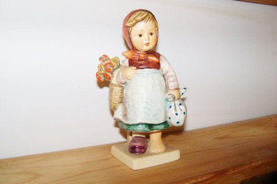 Vintage MI Hummel Weary Wanderer Girl with Basket Flowers and Poke Goebel 1979…