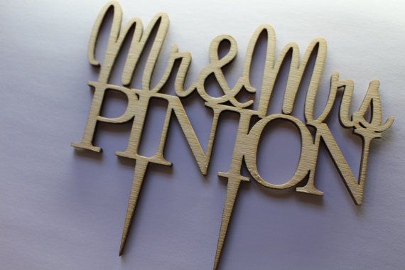 Mr & Mrs Custom Personalised Wedding CakeTopper Wood With Surname Anniversary