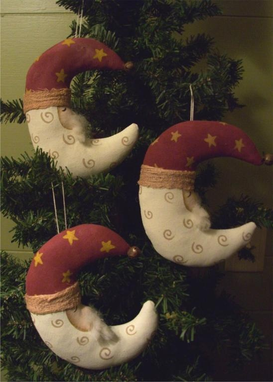 Crescent Santa Ornaments Christmas Decor Santa Claus