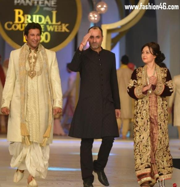 bridal couture, bridal dresses, bridal dresses collection, bridal wear, bridal wedding dresses, Deepak parwani, kurta with trousers, latest bridal dresses, Latest dresses, Latest fashion news, new wedding dresses, Pakistani celebrities, pakistani wedding dresses, pantene bridal couture week 2013, Wasim Akram, wedding dresses, zeba bakhtiar