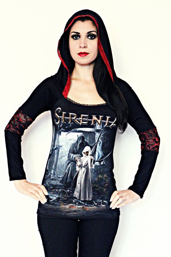 Sirenia t shirt hoodie gothic metal clothing alternative apparel rocker clothes floral lace hooded top reconstructed altered band tee