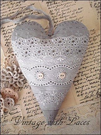 Grey Lace Heart
