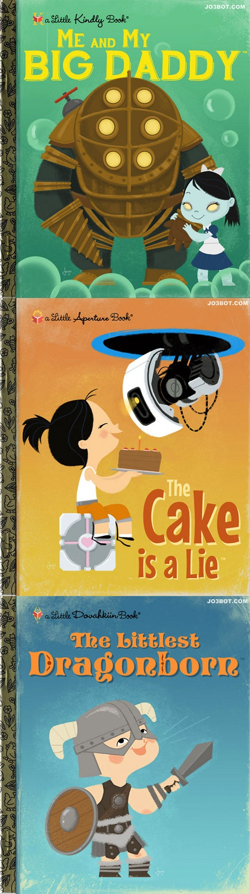 """Joebot's video game inspired mock covers for Little Golden Books: """"Me and My Big Daddy"""" for BioShock, """"The Cake is a Lie"""" for Portal, and """"The Littlest Dragonborn"""" for Skyrim {www.etsy.com/shop/joebot?ref=seller_info}."""
