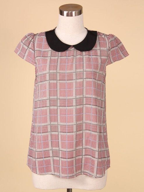 0a5baf6bb232f Plaid Print Peter Pan Collar Cap Sleeve Blouse