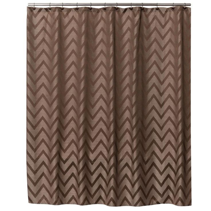 Saturday Knight 72 in. Brown Chevron Fabric Shower Curtain