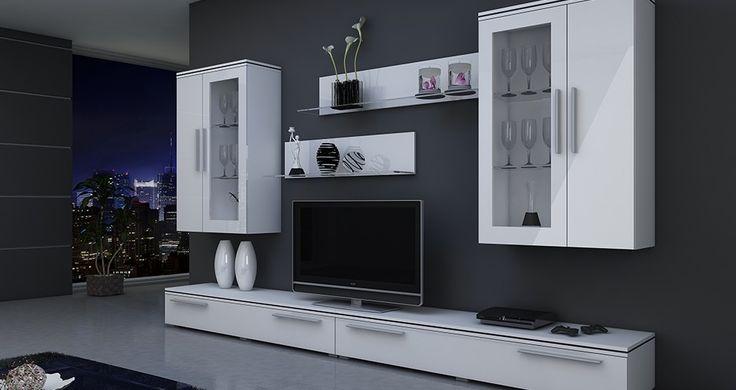 Nowoczesna elegancja białej meblościanki sprawia, że salon nabiera wyjątkowego wymiaru.