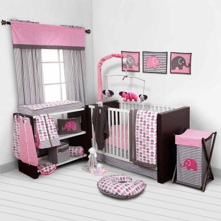 Bacati Elephants 10-Piece Nursery in a Bag Crib Bedding Set (Bumper Pad not included) - Pink/Gray for US standard Cribs