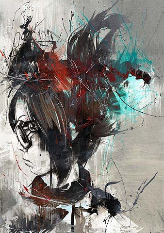 Japanese girl artRusse Mills, Abstract Graphics Art, Inspiration, Concept Art, Illustration, Artists Express, Mills Art, Painting, Artists Range