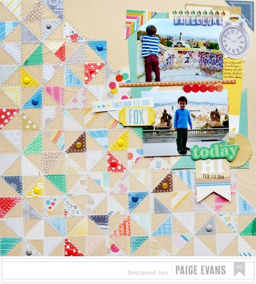 #papercraft #scrapbook #layout. Barcelona by Paige Evans