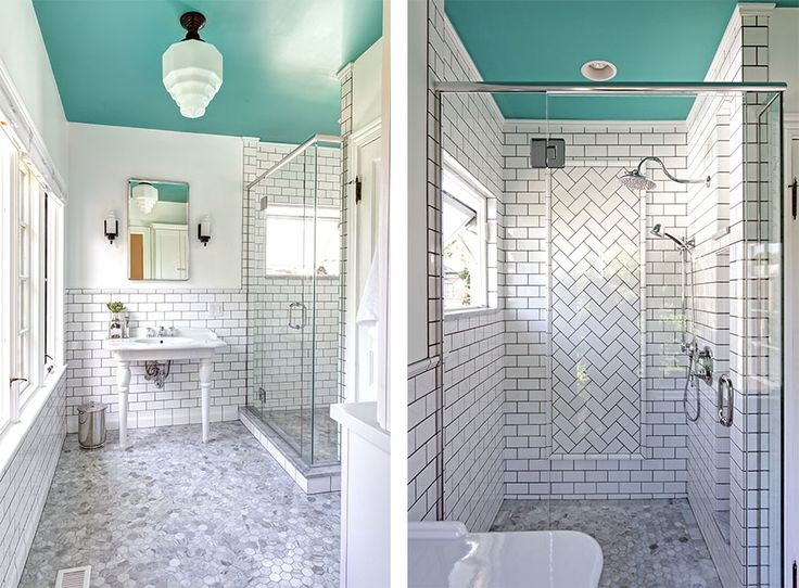 A retro downtown Delaware bathroom featuring Delta Cassidy low arc faucet. Design by Dave Fox.