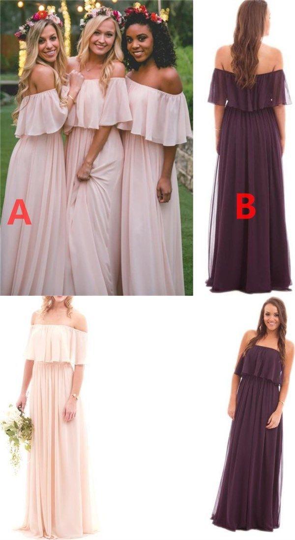 Off Shoulder Chiffon Cheap Popular New Simple Bridesmaid Dress, dress for wedding guest , WG231