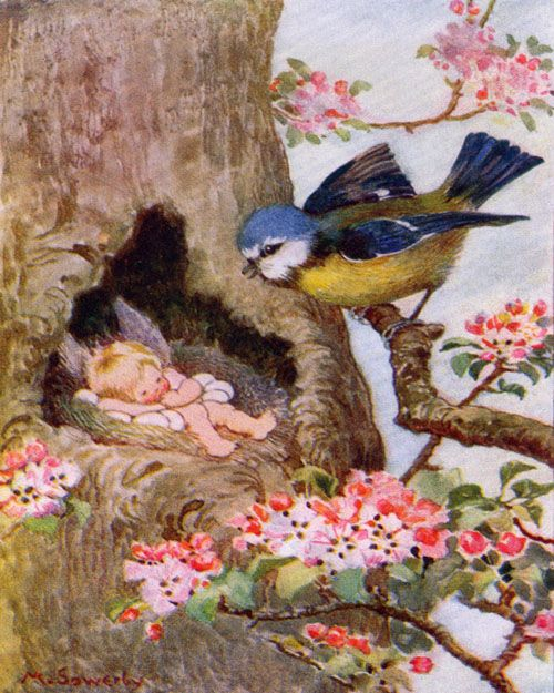 An adorable scene between a sleeping baby fairy and loving blue bird!