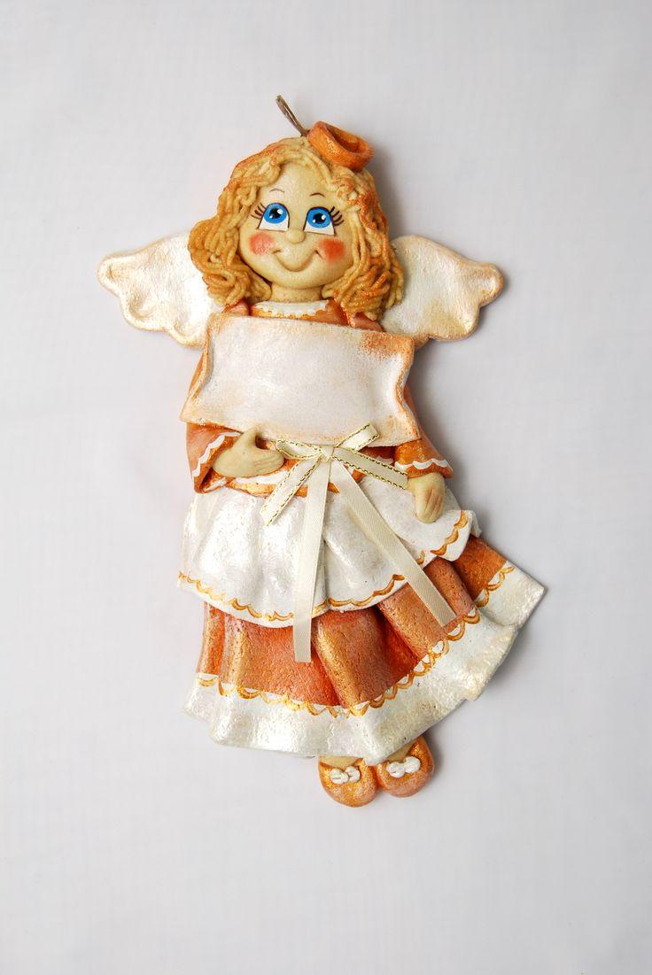 Anioł z masy solnej, anioł z miejscem na dedykację, aniołek z masy solnej, anioł chrzciny, salt dough angel