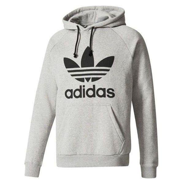 Adidas Trefoil Pullover Hoodie Liked On Polyvore Featuring Tops Hoodies White Hoodies Sweatshirt Hoodies Sw Hoodies Adidas Originals Mens Grey Hoodie Men
