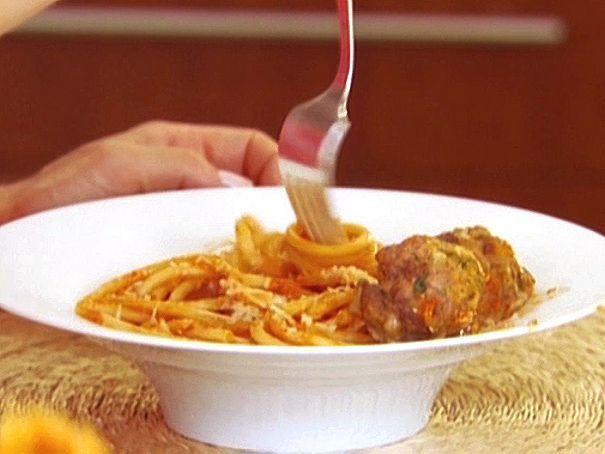 Bucatini All'Amatriciana with Spicy Smoked Mozzarella Meatballs Recipe : Giada De Laurentiis : Food Network - FoodNetwork.com