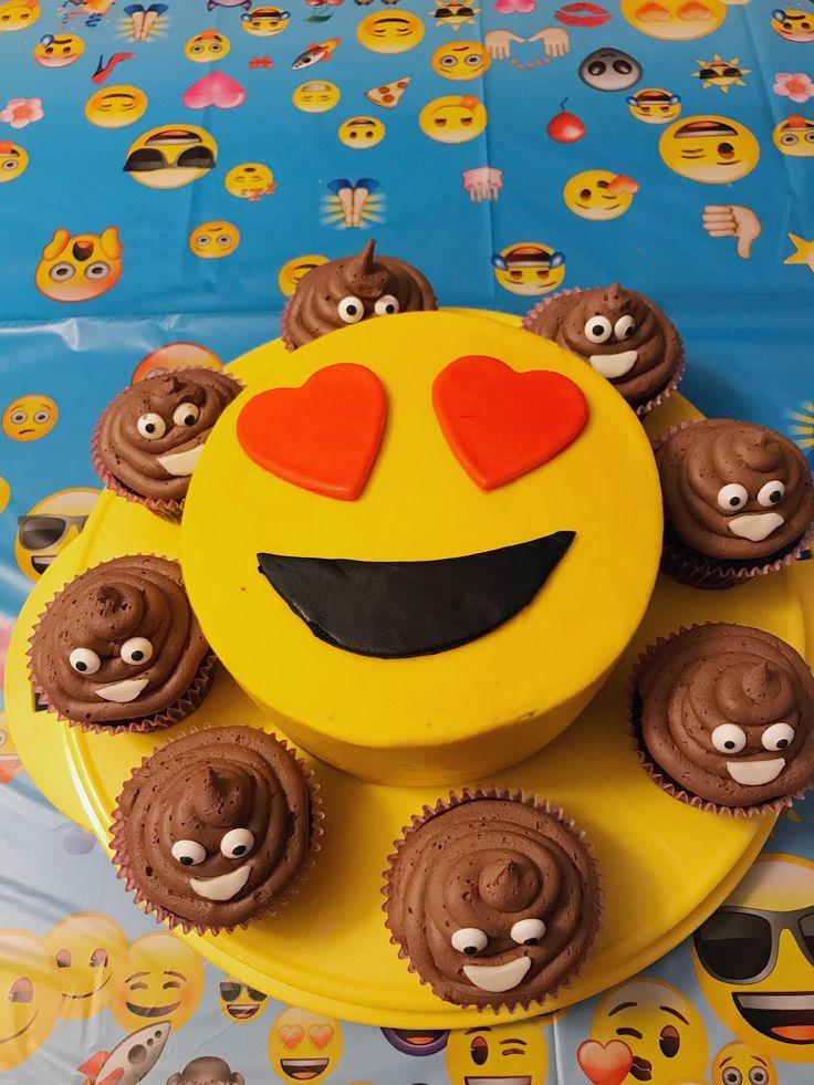 [Homemade] Emoji cake with chocolate ice cream emoji cupcakes