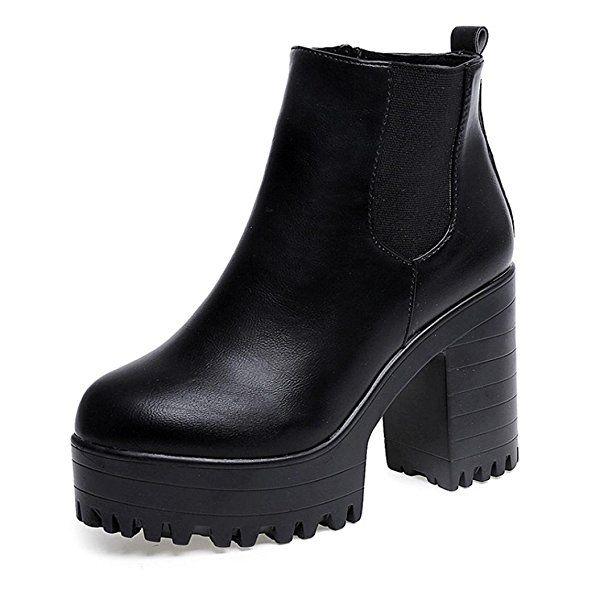 Botas Mujer, Transer® Botas de mujer Tacon cuadrado cuero muslo botas altas plataformas zapatos bomba (37, Negro)